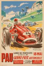 D'APRÈS GEO HAM (GEORGES HAMEL, 1900-1972). PAU / GRAND PRIX AUTOMOBILE. 1952. 23x15 inches, 58x38 cm. Chabrillac, Toulouse.