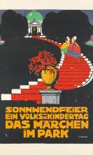 EMIL PIRCHAN (1884-1957). SONNWENDFEIER EN VOLKS - U. KINDERTAG DAS MÄRCHEN IM PARK. 1911. 49x29 inches, 124x75 cm.