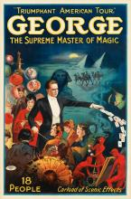 DESIGNER UNKNOWN. GEORGE / THE SUPREME MASTER OF MAGIC. 40x26 inches, 103x69 cm. The Otis Lithograph Co., Cleveland.