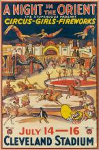 DESIGNER UNKNOWN. A NIGHT IN THE ORIENT / CIRCUS - GIRLS - FIREWORKS. 41x27 inches, 105x70 cm. Morgan Litho Co., Cleveland.
