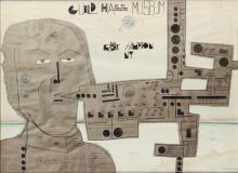 SAUL STEINBERG (1914-1999). GUILD HALL MUSEUM / EAST HAMPTON NY. 1969. 29x39 inches, 75x100 cm. Sidney Janis Gallery.
