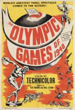 DESIGNER UNKNOWN. THE OLYMPIC GAMES OF 1948. 1948. 41x28 inches, 104x71 cm. Pathe Industries, Inc., New York.