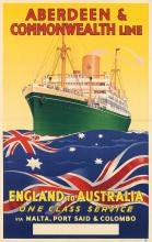 DESIGNER UNKNOWN. ABERDEEN & COMMONWEALTH LINE / ENGLAND TO AUSTRALIA. 39x25 inches, 101x63 cm. Arthur Upton Ltd., London.