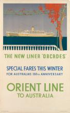 CHARLES PEARS (1873-1958). ORIENT LINE TO AUSTRALIA / THE NEW LINER *ORCADES*. 40x25 inches, 101x63 cm. The Baynard Press, [London.]