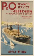 S.C. ROWLES (1887-?). P & O BRANCH SERVICE TO AUSTRALIA. 39x25 inches, 101x63 cm. G.W. Beamand & Sons, London.