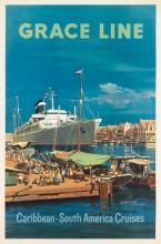 DESIGNER UNKNOWN. GRACE LINE / CARIBBEAN • SOUTH AMERICAN CRUISES. 1961. 42x27 inches, 106x70 cm.