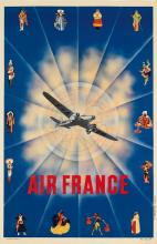 DESIGNER UNKNOWN. AIR FRANCE. 1937. 38x24 inches, 97x61 cm. [Chanove, Courbevoie.]