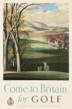 ROWLAND HILDER (1905-1993). COME TO BRITAIN FOR GOLF. 29x19 inches, 75x50 cm. W.S. Cowell Ltd., London.