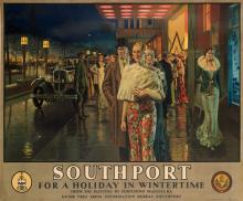 FORTUNINO MATANIA (1881-1963). SOUTHPORT / FOR A HOLIDAY IN WINTERTIME. Circa 1932. 39x49 inches, 101x126 cm. Waterlow & Sons, London.