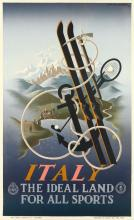 ADOLPHE MOURON CASSANDRE (1901-1968). ITALY / THE IDEAL LAND FOR ALL SPORTS. 1935. 39x24 inches, 99x61 cm. Coen & C., Milan.