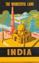 DESIGNER UNKNOWN. INDIA / THE WONDERFUL LAND. 1957. 38x24 inches, 98x62 cm. Bombay Fine Art, Bombay.