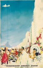 OTTO NIELSEN (1916-2000). SCANDINAVIAN AIRLINES SYSTEM / [RIO DE JANEIRO.] Circa 1960. 38x24 inches, 97x61 cm.