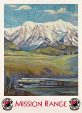 GUSTAV W. KROLLMANN (1888-1962). MISSION RANGE / NORTHERN PACIFIC. Circa 1930. 39x28 inches, 99x73 cm. Brown & Bigelow, St. Paul.