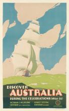 JOHN VICKERY (1906-1983). DISCOVER AUSTRALIA / DURING THE CELEBRATIONS. 1934. 40x25 inches, 101x63 cm. J.T. Pickens & Sons, Ltd., Melbo