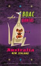 LABAN (DATES UNKNOWN). B•O•A•C / QANTAS / AUSTRALIA / NEW ZEALAND. 1957. 40x25 inches, 101x64 cm.