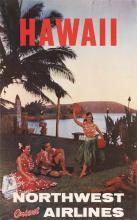 DESIGNER UNKNOWN. HAWAII / NORTHWEST ORIENT AIRLINES. 40x24 inches, 101x63 cm.