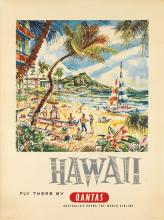 HR (DESIGNER UNKNOWN). HAWAII / FLY THERE BY QANTAS. 39x29 inches, 99x74 cm. Posters Pty. Ltd.