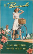 DESIGNER UNKNOWN. SEE BERMUDA / YOU ARE ALMOST THERE WHEN YOU GO TO THE FAIR. Circa 1939. 40x24 inches, 101x61 cm.