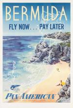 LOWEREE (DATES UNKNOWN). BERMUDA / FLY NOW. . . PAY LATER / VIA PAN AMERICAN. Circa 1950s. 41x28 inches, 106x71 cm.