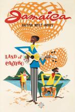 DESIGNER UNKNOWN. JAMAICA / BRITISH WEST INDIES / LAND OF CALYPSO. 42x28 inches, 107x71 cm.