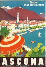 OTTO ERNST (1884-1967). ASCONA. 1951. 39x27 inches, 99x70 cm. A. Trub & Cie., Aarau-Lugano.