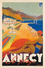 ROBERT FALCUCCI (1900-1989). ANNECY / LA PLAGE. 1935. 39x24 inches, 99x65 cm. Imp. Generale, Grenoble.