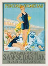 DESIGNER UNKNOWN. SAN SEBASTIAN / PISCINA - FAMILIAS. Circa 1928. 27x19 inches, 70x50 cm. Thomas, Barcelona.