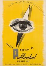 DESIGNER UNKNOWN. SEMANA MUNDIAL DE PUBLICIDAD. 1952. 39x27 inches, 99x70 cm. Seix y Barral, Barcelona.