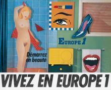 DESIGNER UNKNOWN. VIVEZ EN EUROPE 1 / DÉMARREZ EN BEAUTÉ. Circa 1970s. 31x38 inches, 80x98 cm. Ets St. Martin, Asnieres.