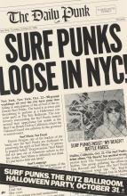 DESIGNER UNKNOWN. SURF PUNKS LOOSE IN NYC! / THE DAILY PUNK. 1980. 30x19 inches, 76x50 cm. Epic, CBS, [New York.]