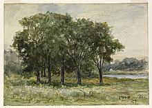EDWARD M. BANNISTER (1828 - 1901) Untitled (Landscape, Trees by Water).