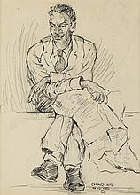 CHARLES WHITE (1918 - 1979) Untitled (Man With Newspaper and Crossed Legs).