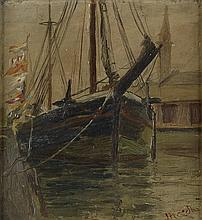 JAMES BOLIVAR NEEDHAM (1850 - 1931) Untitled (Sailboat on Chicago Waterfront).