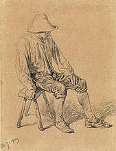 CHARLES JACQUES Study of a Seated Peasant.