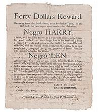 (SLAVERY AND ABOLITION--RUNAWAY SLAVE.) Forty Dollars Reward. Ranaway from the Subscribers, Near Frederick Town. . .Negro Harry. . . .N