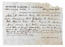 (SLAVERY AND ABOLITION.) State of Alabama, Circuit Court. John H. Harris, being the master, or other person occupying that relation to