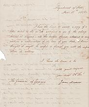 (SLAVERY AND ABOLITION.) MADISON, JAMES. Letter Signed, as Secretary of State, to Governor of Georgia John Milledge,
