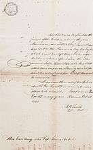 "(SLAVERY AND ABOLITION--CUBA.) Autograph Letter Signed from the American Consul J.A. Smith requesting the release of two ""blackmen"" inc"