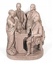 "(SLAVERY AND ABOLITION.) ROGERS, JOHN. ""The Fugitive's Story,"" large sculpture by John Rogers."