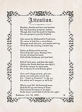(SLAVERY AND ABOLITION.) LINCOLN, ABRAHAM. Attention.