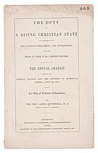 (AFRICA--LIBERIA.) CRUMMELL, ALEXANDER. The Duty of a Rising Christian State to Contribute to the World's Well-Being and Civilization