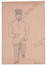 (ART--FOLK ART.) JOHNSON, ROY. Collection of 43 drawings of Pullman Porters and related subjects.