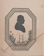 (BUSINESS.) CUFFEE, PAUL. Engraved silhouette portrait of Captain Paul Cuffee.