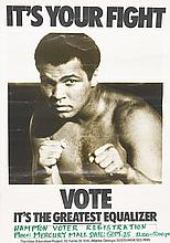 (CIVIL RIGHTS.) ALI, MUHAMMAD. It's Your Fight. VOTE It's the Great equalizer. In drymark pen beneath this: