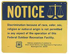 (CIVIL RIGHTS.) UNITED STATES FOREST SERVICE. NOTICE. Discrimination because of race, color, sex, religion or national origin is not pe