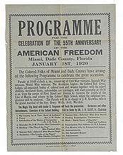 (CIVIL RIGHTS--FLORIDA.) Programme, for the Celebration of the 55th Anniversary of the American Freedom, Miami, Dade County, Florida, J