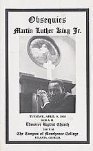 (CIVIL RIGHTS.) KING, MARTIN LUTHER JR. Obsequies Martin Luther King Jr. Tuesday, April 9th 1968. Ebenezer Baptist Church 2:00 Pm, The
