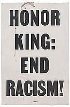 (CIVIL RIGHTS.) KING, MARTIN LUTHER JR. Honor King: End Racism!