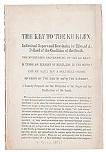(CIVIL RIGHTS--KLAN, KU KLUX.) POLLARD, EDWARD A. The Key to the Klux. Individual Report and Revelation by Edward A. Pollard of the Con