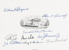 (LAW SUPREME COURT.) Engraved Supreme Court sheet, printed on cardstock, signed by all nine members of the Court.